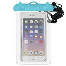 Водонепроницаемый чехол для телефона, голубой с прозрачным