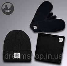 Зимовий чоловічий комплект шапка бафф і рукавички Стогін Айланд (Stone Island) теплий чоловічий костюм,