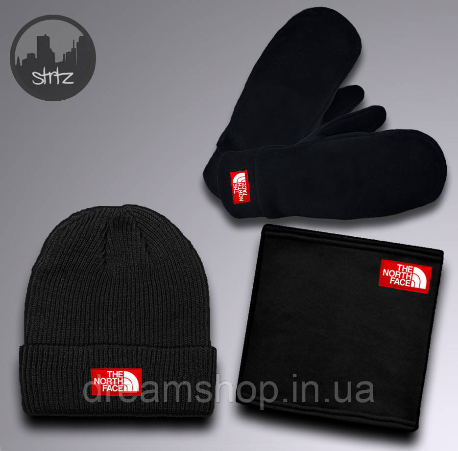 Теплый зимний набор шапка бафф и перчатки для мужчин Зе норд фейс