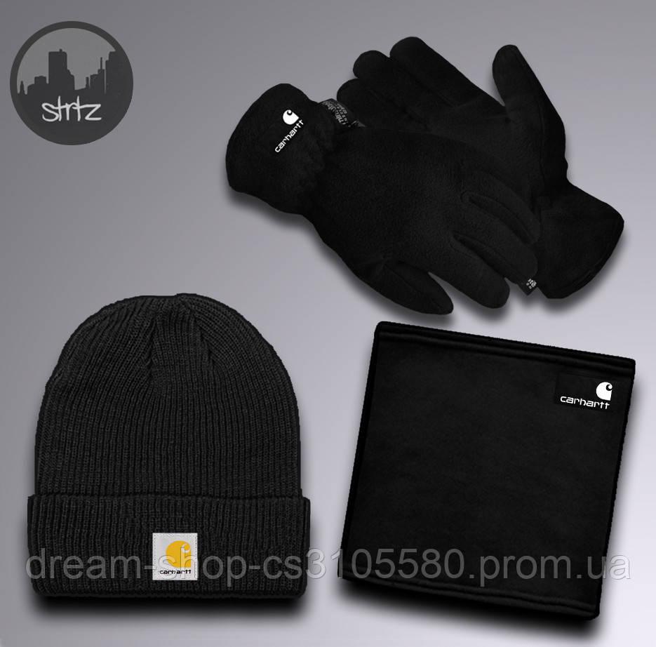 Чоловічий теплий комплект шапка рукавички і бафф Зе норд фейс, відмінної якості