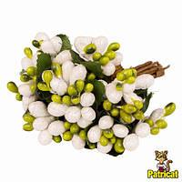 Тычинки Оливково-белые с ягодками и листиками 24 шт/уп на проволоке в блестках