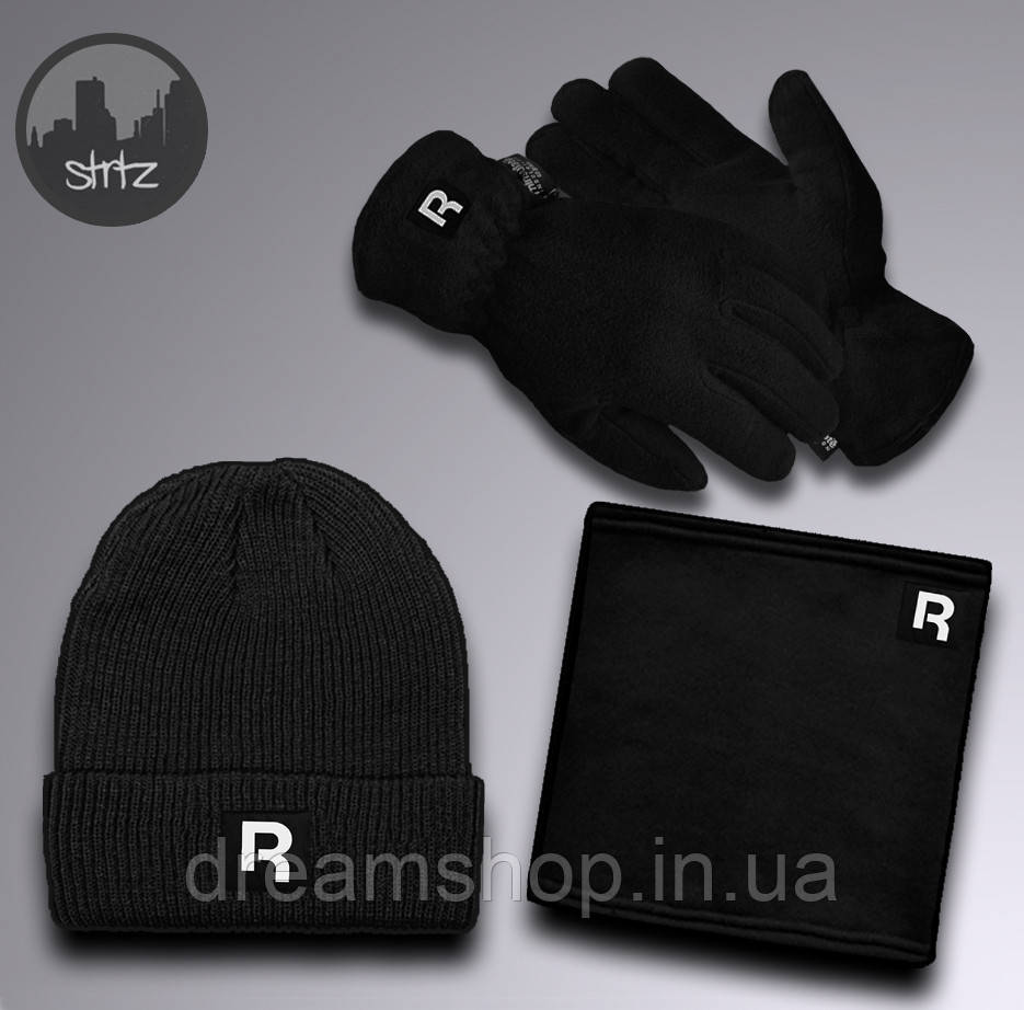 Теплый зимний набор шапка бафф и перчатки для мужчин Рибок