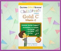 Жидкий витамин C  для детей, Gold C, California Gold Nutrition, 118 мл (4 жидк. унции), фото 1