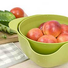 Двойной дуршлаг для мытья и просушивания фруктов, зеленый