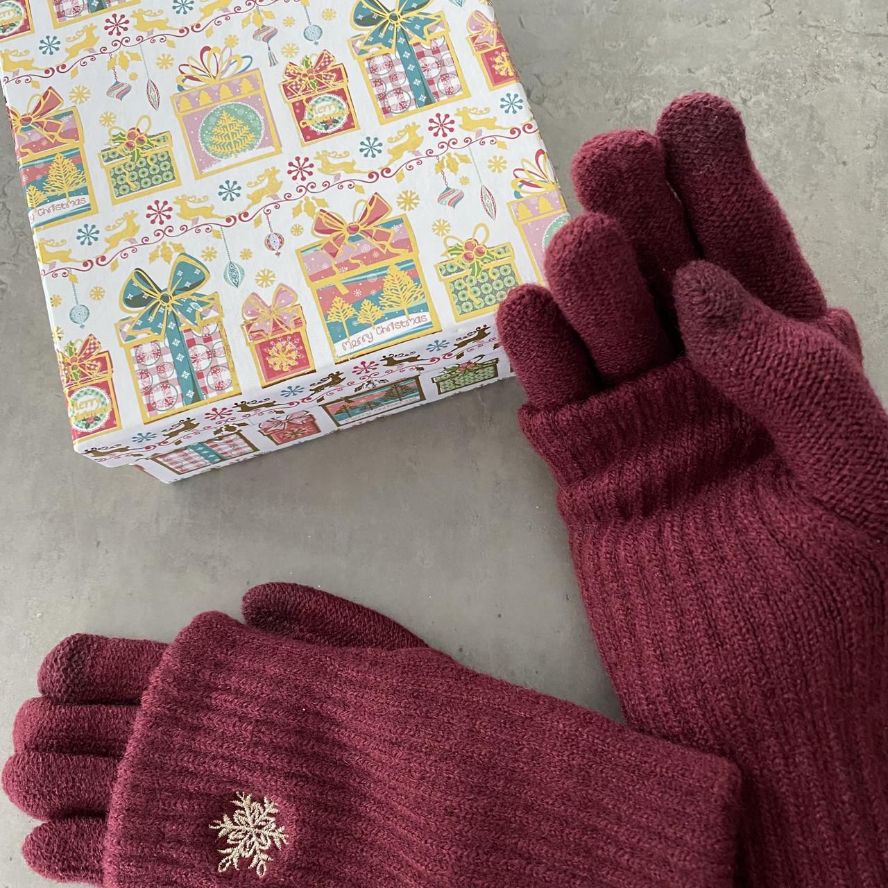 Перчатки из текстиля тачскрин Woman's heel бордовые (Ш-514-1)