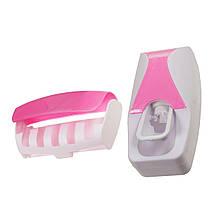 Дозатор для зубной пасты с держателем для щеток, розовый