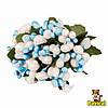 Тычинки Бело-голубые с ягодками и листиками 6 шт/уп на проволоке в блестках