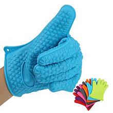 Силиконовая перчатка прихватка для горячего, голубой