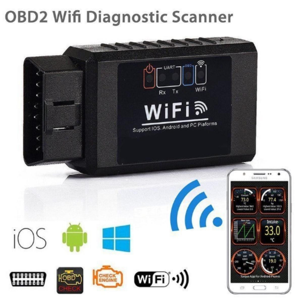 Диагностический автосканер адаптер OBD2 сканер ELM327 WiFi v1.5 для Android/IOS iphone OBD
