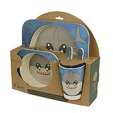 Набор детской бамбуковой посуды, акула
