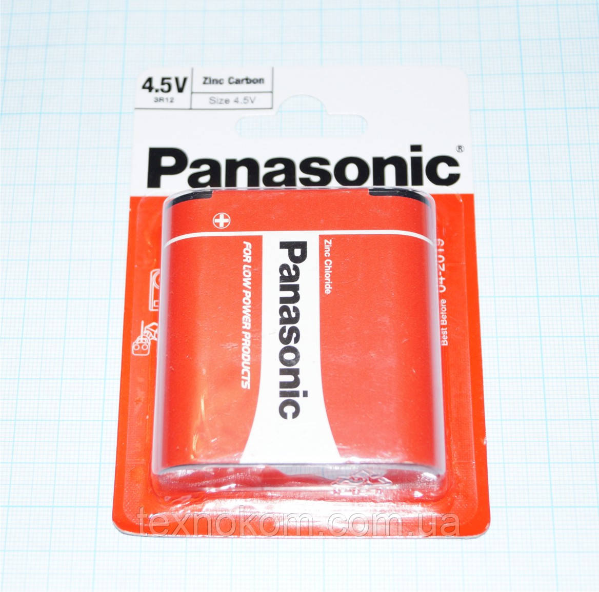 Батарейка 3R12 квадратная, плоская 4,5V, Panasonic