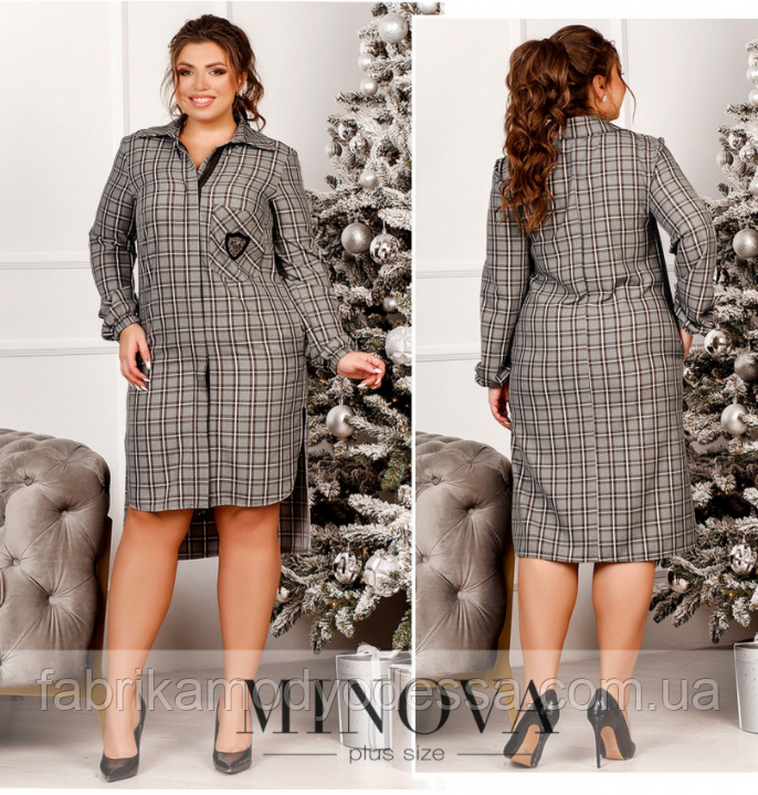 Платье-рубашка батал Минова Размеры: 48-50, 50-52, 54-56, 56-58