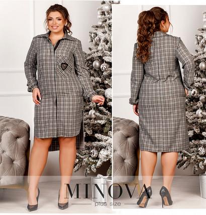 Платье-рубашка батал Минова Размеры: 48-50, 50-52, 54-56, 56-58, фото 2