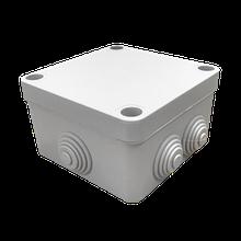 Коробка распределительная серая с кабельными вводами, IP55, 100х100х50