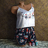 """Женская пижама""""Пингвинчики"""" синяя новогодняя"""