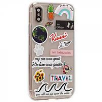 Чехол TTech Stickers TPU Series для Apple iPhone Xs Max Design 4 Transparent (BS-000066429)