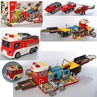 Гараж LA-057 пожарная часть, 86 см, складывается в машину 39 см, транспорт, звук, свет