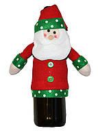 Новогоднее украшение на бутылку Дед Мороз