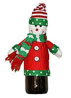 Новогоднее украшение чехол на бутылку Снеговичок