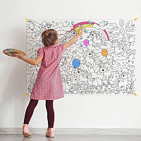 Плакат-раскраска Единорожки Ваша юная художница улучшит мелкую моторику (SV)