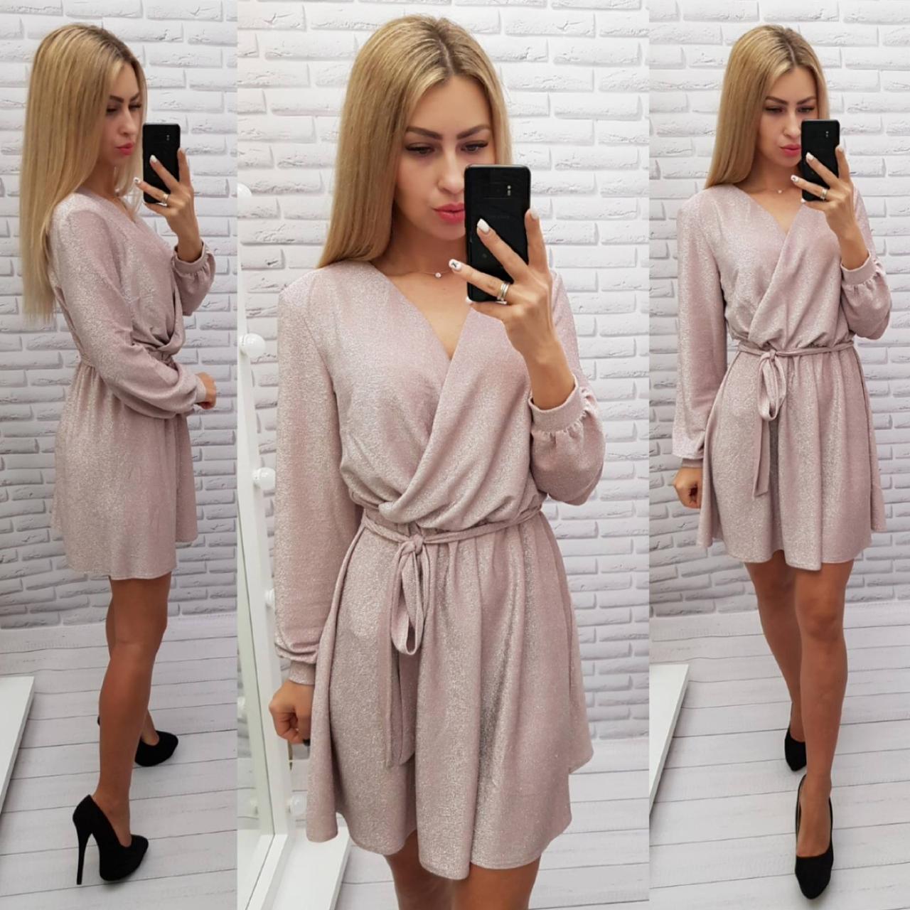 Платье на запах из люрекса, арт 406, пудра/нежно розовый