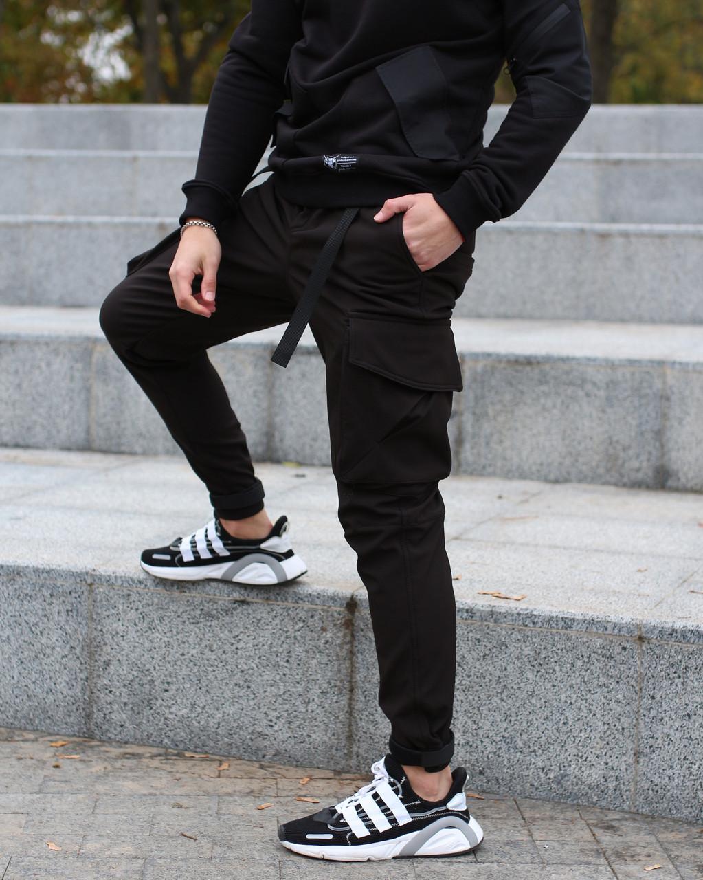 Зимние штаны карго из софтшела на флисе мужские черные бренд ТУР модель ДаркСайд (Darkside)