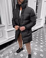 Куртка пуховик черная мужская зимняя теплая с капюшоном холофайбер