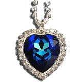 "Ожерелье с подвеской  ""Сердце океана"" Heart of Ocean Titanic Blue Heart Crystal Rhinestone Diamond Necklace of"