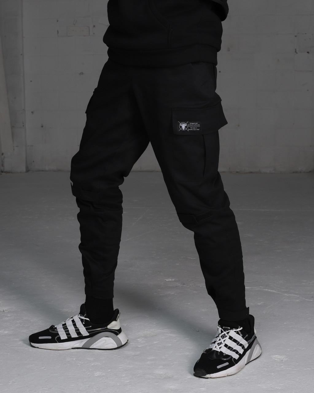 Зимние штаны карго на флисе мужские черные бренд ТУР модель Симбиот (Symbiote) размер: S, M, L, XL, XXL