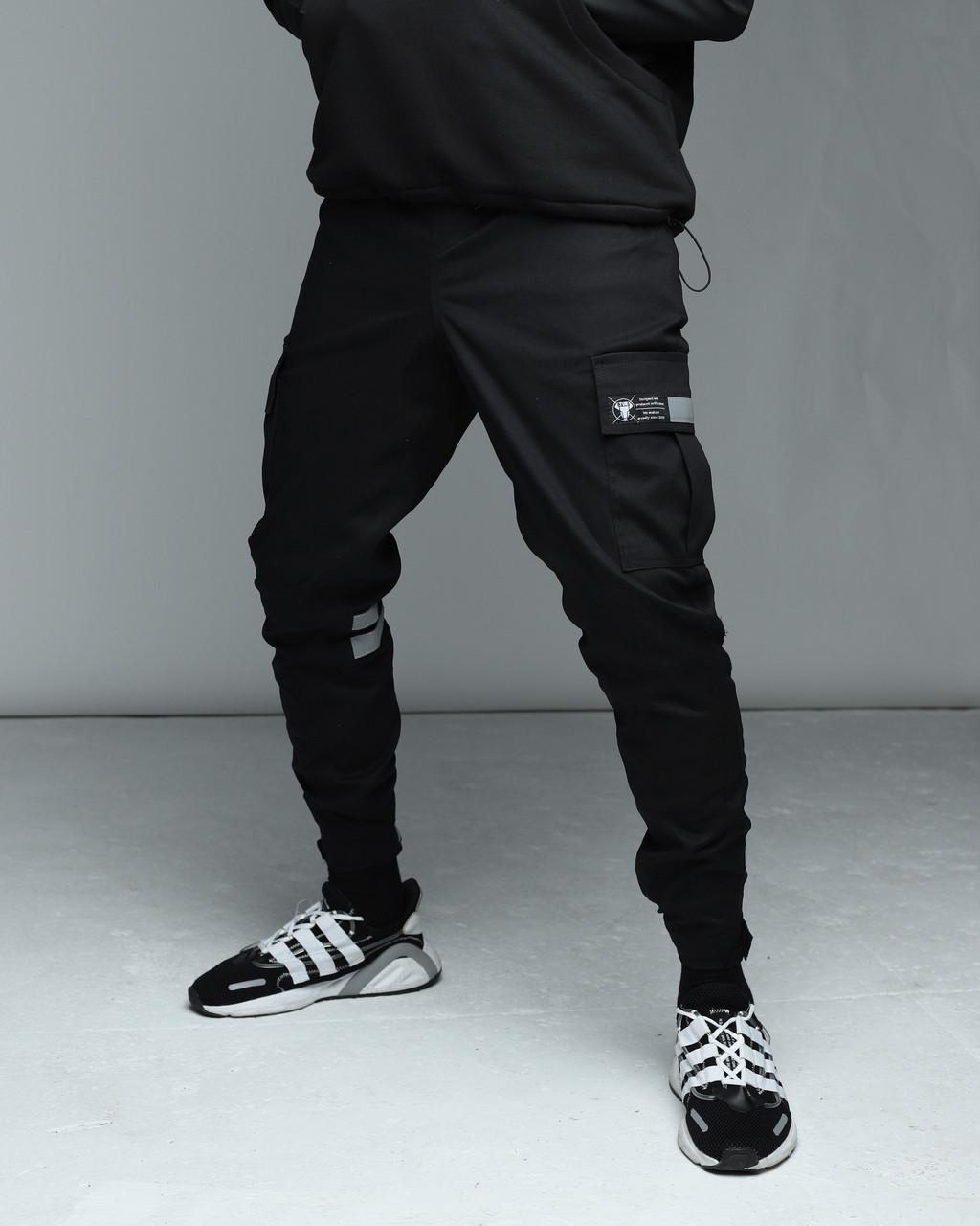 Зимние штаны карго на флисе мужские черные бренд ТУР модель Райот (Raiot) размер: S, M, L, XL, XXL