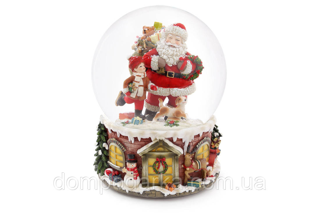 "Новогодний снежный шар "" Санта с ребенком"""