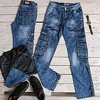 Чоловічі молодіжні джинси Vigoocc 727 карго з кишенями. Розмір 30
