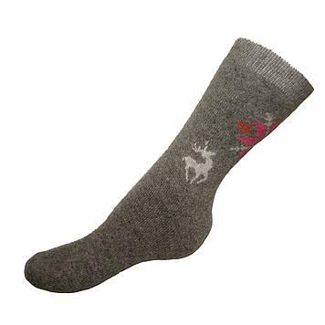 Шерстяные носки женские снежинка с оленем размер универсальный 37-42