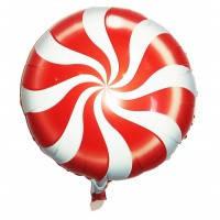 Фольгированный круглый шар леденец карамелька  красная 45см.