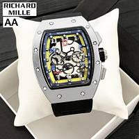 Часы мужские женские механические с автоподзаводом серебряные Richard Mille Automatic Silver-Black 1068-0004 R