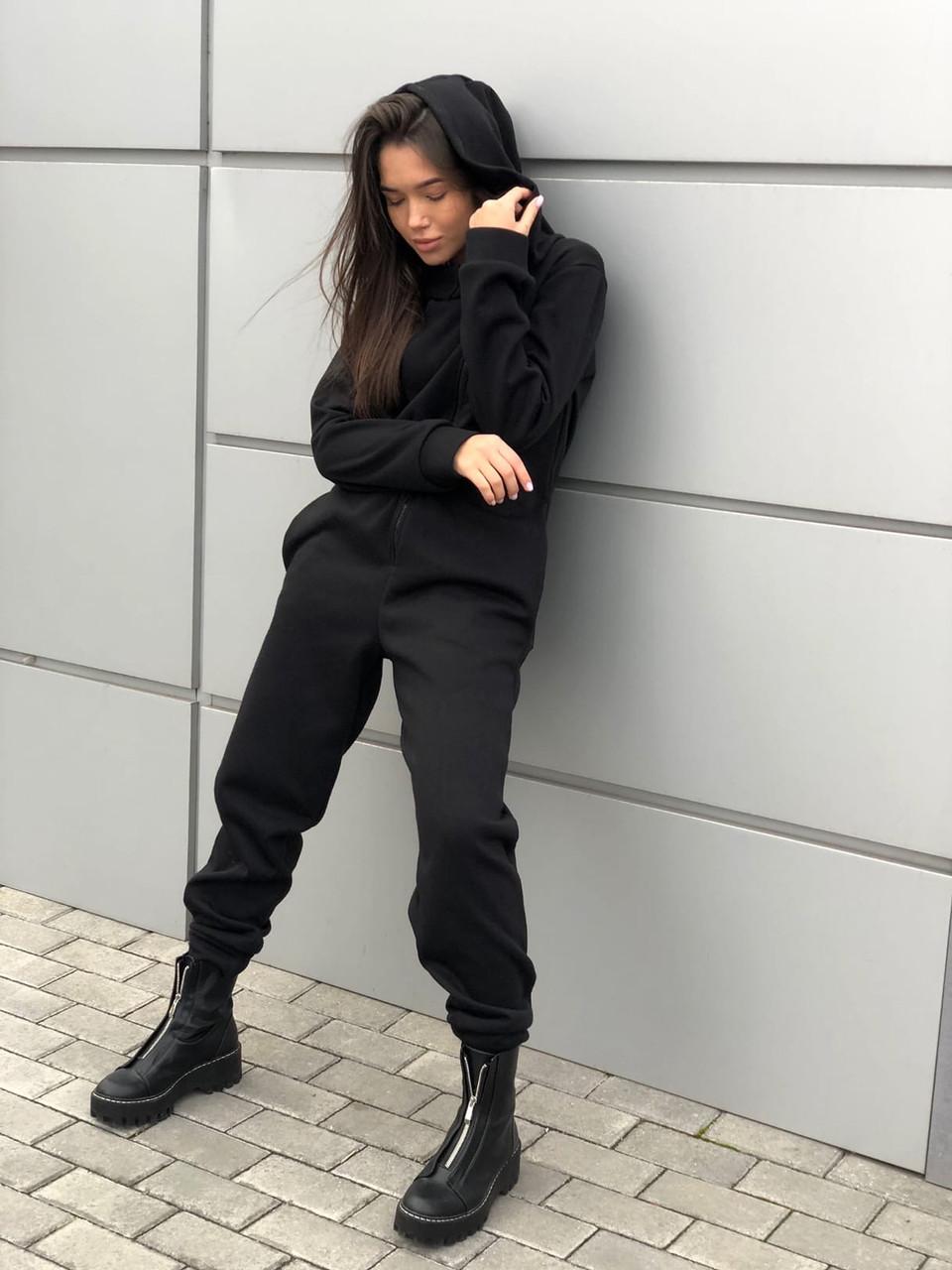 Комбинезон женский зимний на флисе чёрный