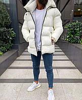 Куртка пуховик мужская зимняя цвет молочный с капюшоном удлиненная молодежная повседневная теплая