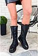 Женские сапоги зимние теплые с мехом на шнуровке и молнии черные эко кожа b-466, фото 8