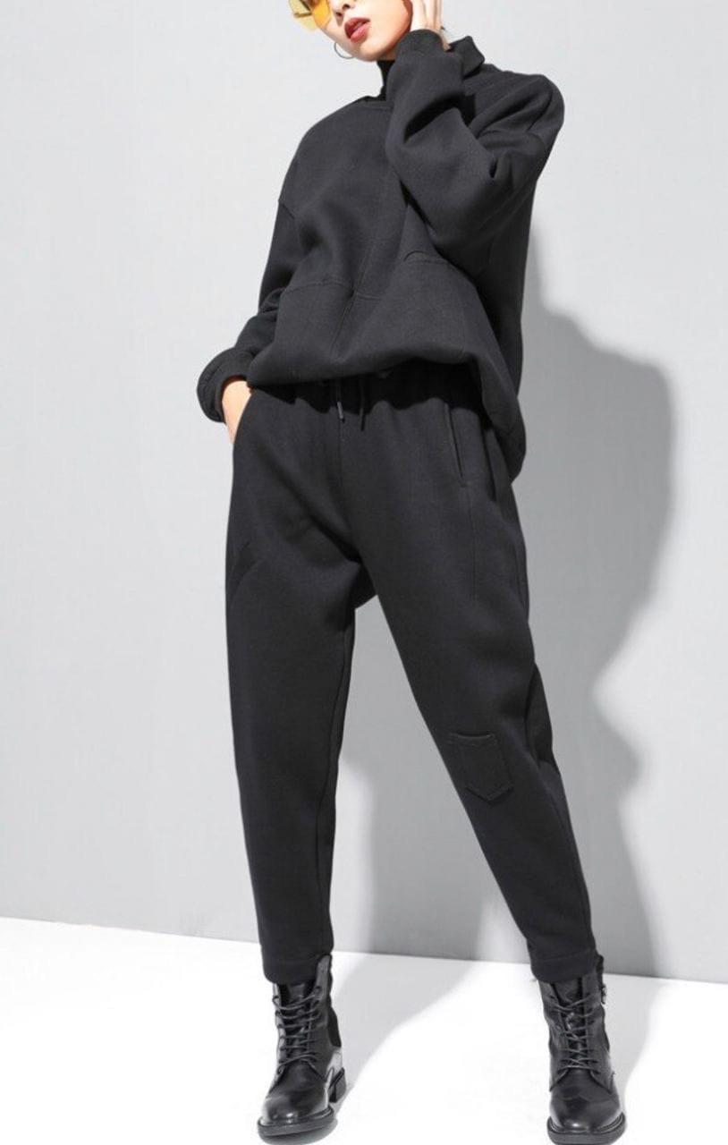 Спортивный костюм женский зимний тёплый на флисе чёрный
