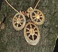 """Видный комплект """"Дарнесса"""" - Кулон, цепочка, серьги с фианитами, покрытый золотом(617050)"""