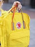 Женский рюкзак сумка канкен Fjallraven Kanken classic желтый с радужными ручками 16 литров, фото 7