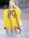Женский рюкзак сумка канкен Fjallraven Kanken classic желтый с радужными ручками 16 литров, фото 6
