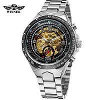 Годинники наручні чоловічі механічні з автопідзаводом скелетоны Winner 8067 Silver-Black-Red Gold 1099-0018
