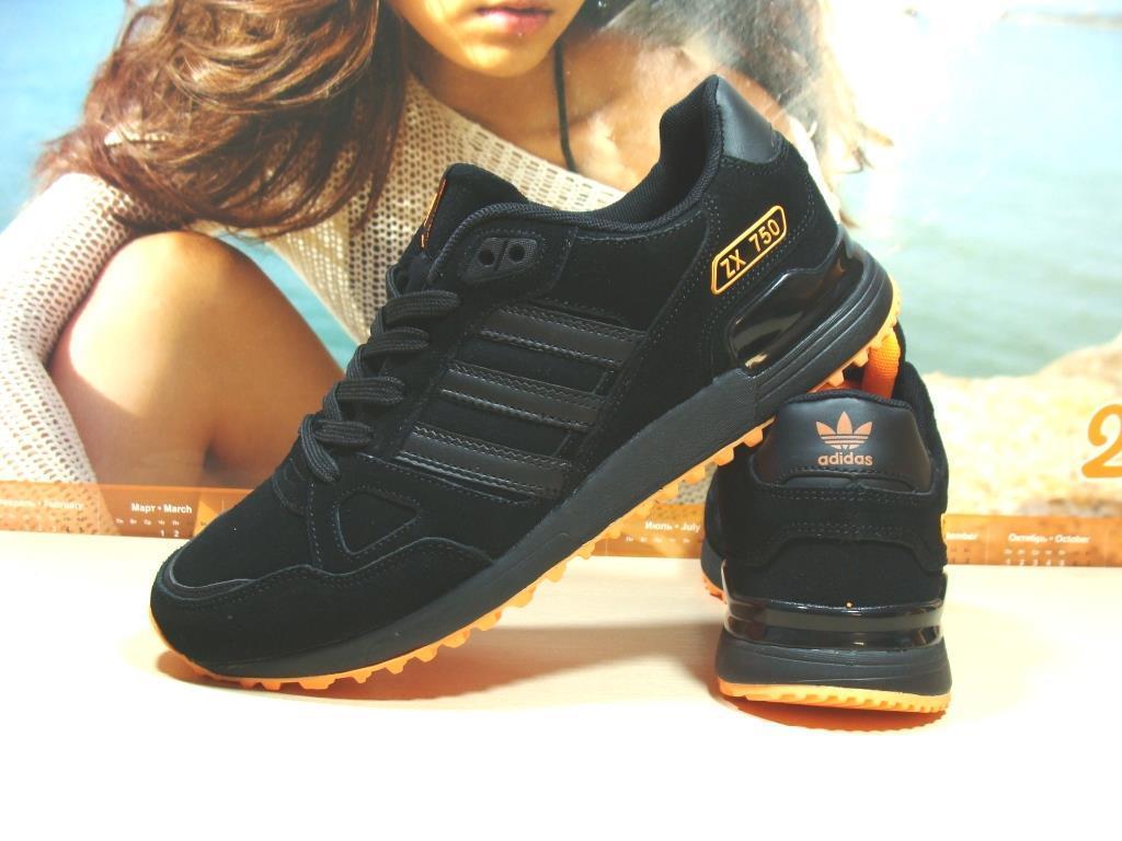 Кроссовки мужские Adidas ZX 750  черно-оранжевые 44 р.