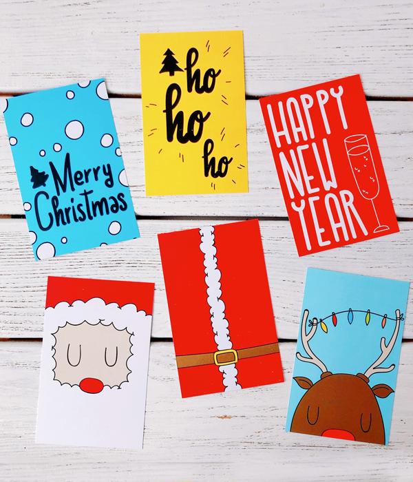 Новогодние мини-открытки (набор 6 шт.)