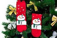 🎄 Красные новогодние носки со снеговиком в шарфе36-41 размер Золото, фото 1