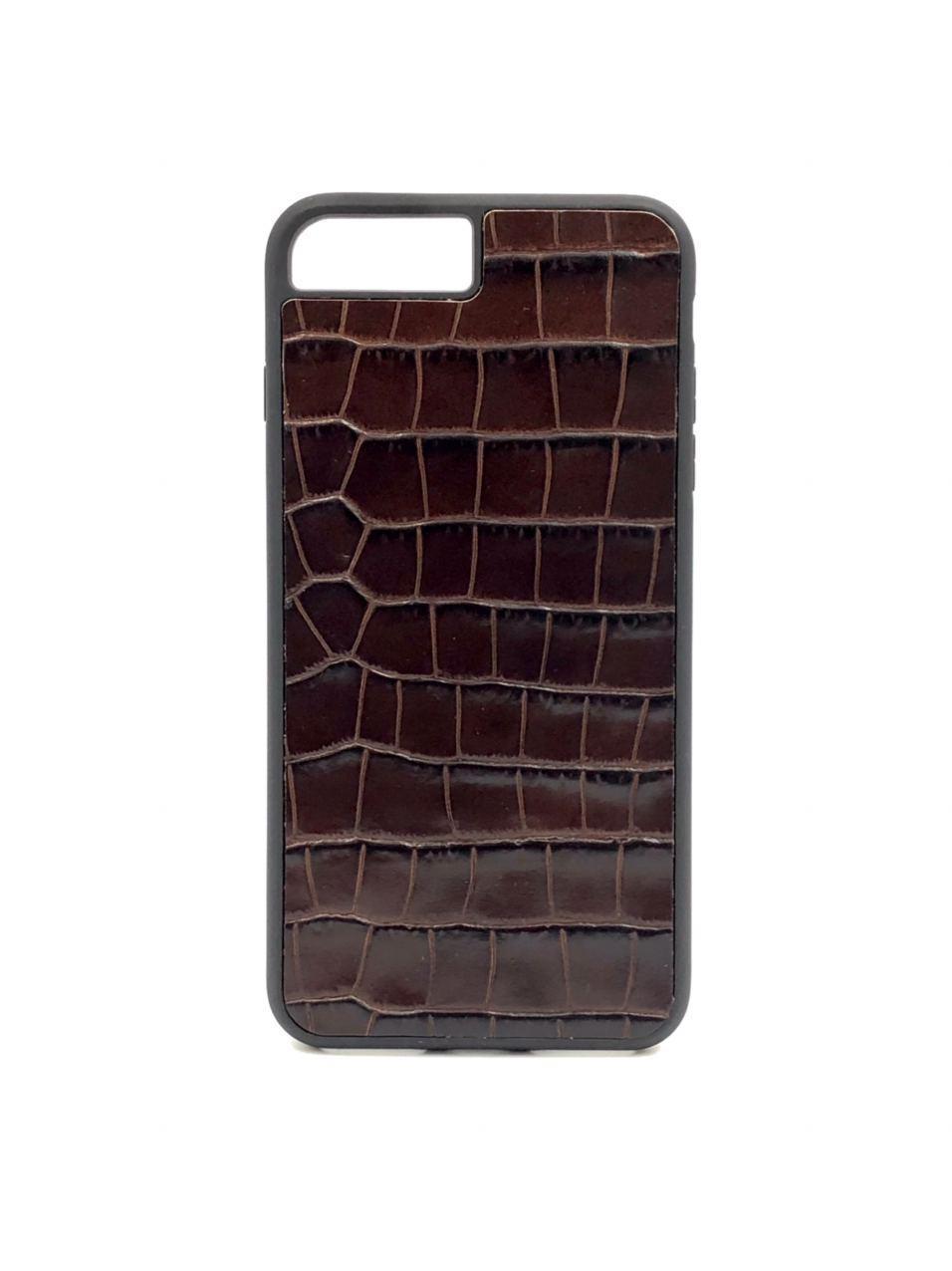 Чехол для iPhone 7+/8+ коричневого цвета из Телячьей кожи тиснёной под Крокодила