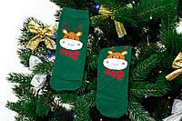 🎄 Зелёные новогодние носки с оленями 37-41 размер MERRY CHRISTMAS Золото, фото 1