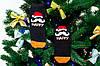 🎄 Черные новогодние носки с Дедом Морозом HAPPY NEW YEAR 37-41 размер Золото