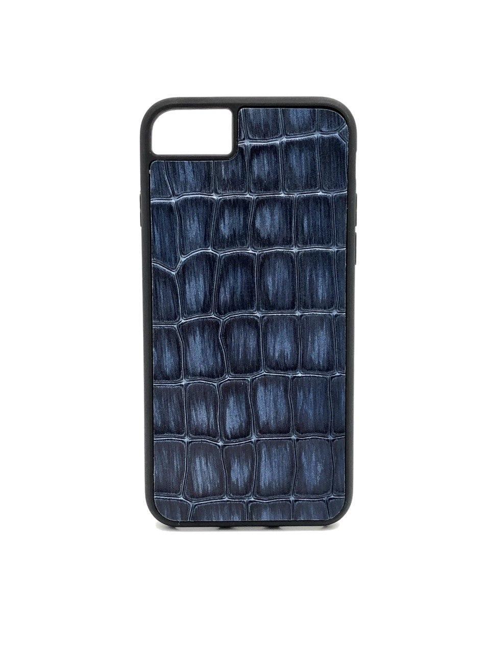 Чехол для iPhone 7/8 синего цвета из Телячьей кожи тиснёной под Крокодила